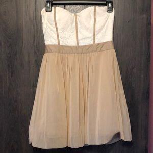 Mini white/tan dress